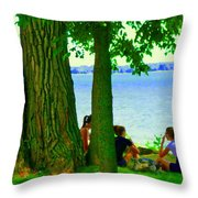 Sunday Picnic On The Lake Maple Trees At The Canal Pte Claire Montreal Waterscene Carole Spandau Throw Pillow