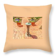 Sundial In The Garden Throw Pillow