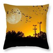 Sundown Fantasy Orange Throw Pillow