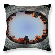 Sundown In The Chicago Canyons Polar View Throw Pillow by Thomas Woolworth