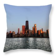 Sundown In The Chicago Canyons Throw Pillow