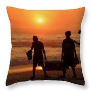 Ocean - Sundown Sunset Throw Pillow