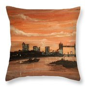 Sundown Over Tower Bridge London Throw Pillow
