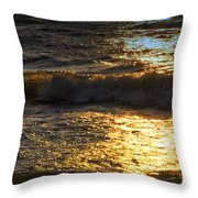 Sundown Shimmer On The Waves Throw Pillow