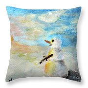 Sundown Snowman Throw Pillow