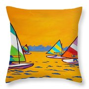 Sunfish Sailboat Race Throw Pillow