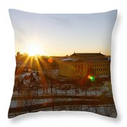 Sunflare At The Museum Throw Pillow