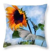 Sunflower Against The Sky Throw Pillow