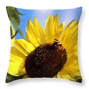 Sunflower And Bee-3879 Throw Pillow