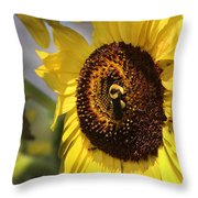 Sunflower And Bee-3922 Throw Pillow