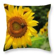 Sunflower And Bee II Throw Pillow