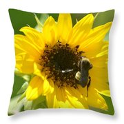 Sunflower And Bee Throw Pillow