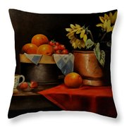 Sunflower And Fruits Throw Pillow