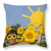 Sunflower And Sun Throw Pillow