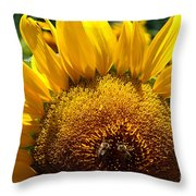 Sunflower And Two Bees Throw Pillow