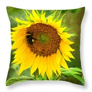 Sunflower And Visitors Throw Pillow