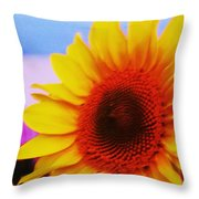 Sunflower At Beach Throw Pillow