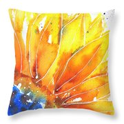 Sunflower Blue Orange And Yellow Throw Pillow