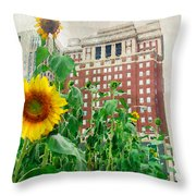 Sunflower City Throw Pillow