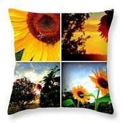Sunflower Collage II Throw Pillow
