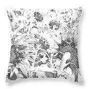 Sunflower Drawing Throw Pillow