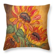 Sunflower Enchantment Throw Pillow by Ella Kaye Dickey