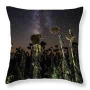 Sunflower Field At Night Throw Pillow