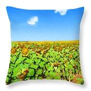 Sunflower Fields Forever Throw Pillow