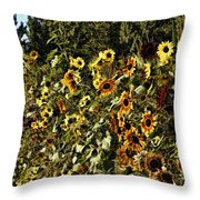 Sunflower Fields Forever Throw Pillow