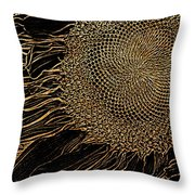 Sunflower Gold Leaf Sketch Throw Pillow
