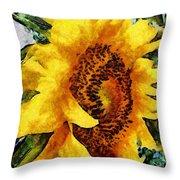 Sunflower Heart Throw Pillow