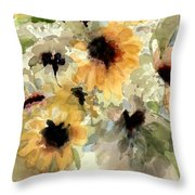 Sunflower Impressions Throw Pillow