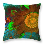 Sunflower In Brown Throw Pillow