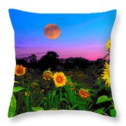 Sunflower Patch And Moon  Throw Pillow