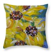 Sunflower Quartet Throw Pillow