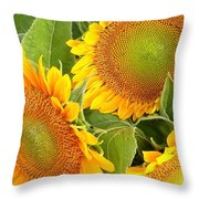 Sunflower Smiles Throw Pillow