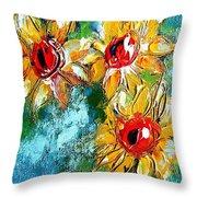 Sunflower Study Painting Throw Pillow