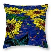 Sunflower Tiled Oil Painting Throw Pillow