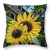 Sunflower Under The Gables Throw Pillow