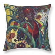 Sunflower Woman #1 Throw Pillow by Avonelle Kelsey