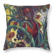 Sunflower Woman #1 Throw Pillow