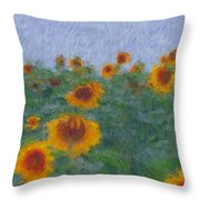 Sunflowerfield Abstract Throw Pillow