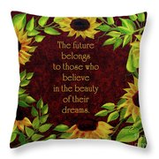 Sunflowers And Future Poem Throw Pillow