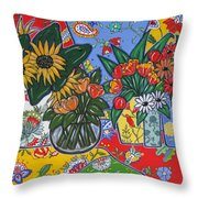 Sunflowers And Poppies Throw Pillow