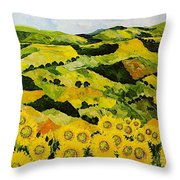 Sunflowers And Sunshine Throw Pillow