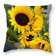 Sunflowers At Market Throw Pillow
