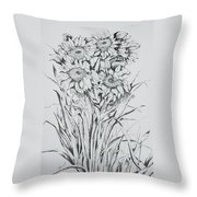 Sunflowers Black And White Throw Pillow