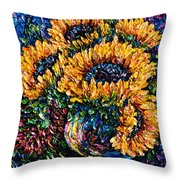 Sunflowers Bouquet In Vase Throw Pillow