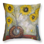 Sunflowers Throw Pillow by Elena  Constantinescu