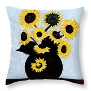 Sunflowers Expressive Brushstrokes Throw Pillow